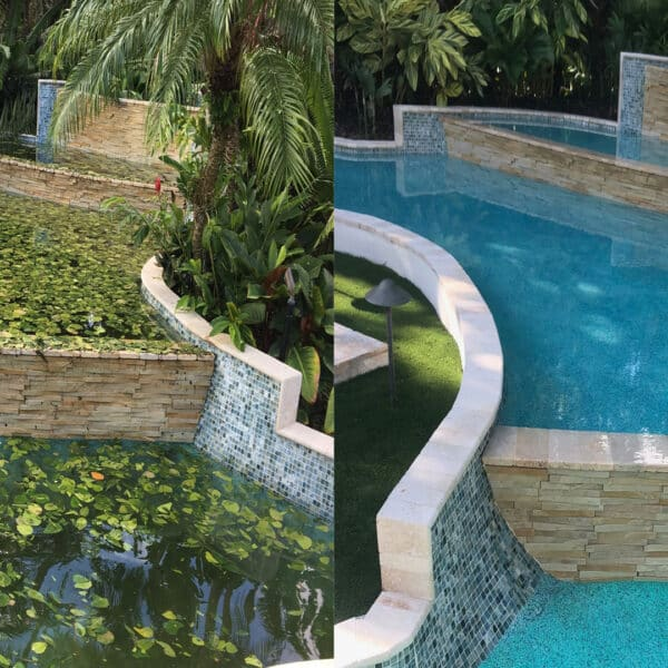 Hurricane Pool Before After - Acquality Pool Service
